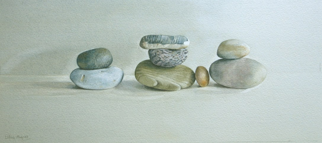 Eight pebbles. Dunes. Watercolour by Lillias August ©
